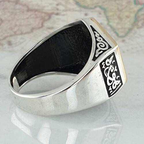 925 Sterling Silber Schwarz Onyx Edelstein  Man Ring  Handgefertigt AAA Quality