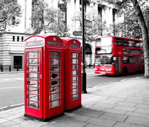 London Phone Booth UK Iconic Box 3D Full Wall Mural Photo Wallpaper Home Decal