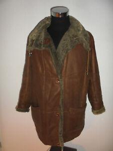 vintage-german-CHRIST-70s-Fellmantel-Ledermantel-Hippie-oldschool-coat-70er-M-L