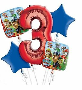 Image Is Loading PAW PATROL 3rd Birthday Party 5x HELIUM BALLOONS
