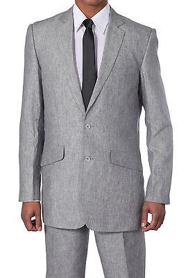Men's Luxurious Two Button Linen Suit 612L Solid White Blue Gray