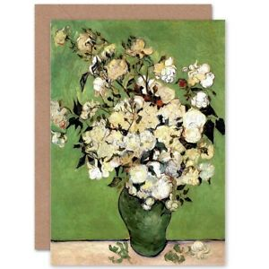 Vincent-Van-Gogh-A-Vase-Of-Roses-1890-Old-Master-Blank-Greeting-Card