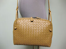 Bottega Veneta AUTH Intrecciato Woven Crossbody Messenger Bag + Mirror Camel
