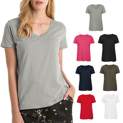 B/&C Collection Women/'s Slub Organic Cotton T-Shirt TW047 Ladies Thin Plain Tee