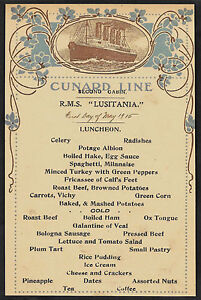 RMS Lusitania Cunard Line Menu Reprint On Original Period 1915 Paper *180