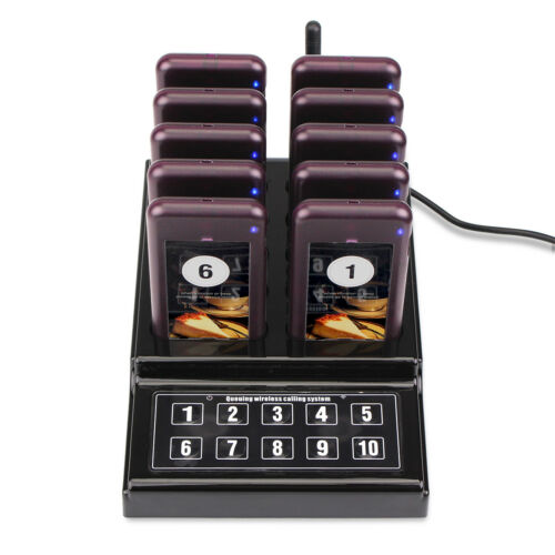 Wireless Restaurant Guest Call Paging Queuing System Transmitter+10Coaster Pager