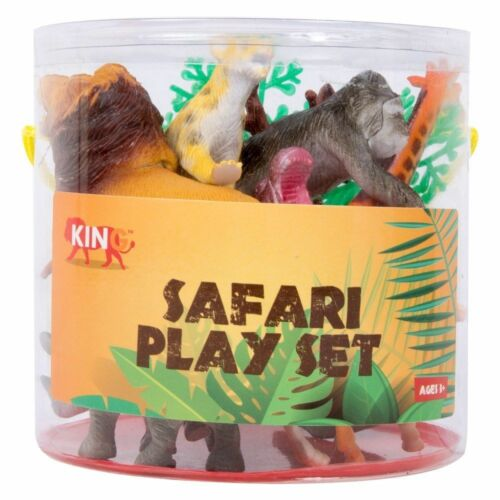 Safari Animale Figura in Plastica Play Set di 7 ANIMALI GRANDI /& Vario 2 alberi NUOVO CON SCATOLA