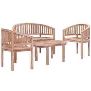 Image Is Loading Vidaxl Solid Teak Garden Lounge Set 4 Piece