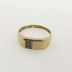 Herren-Siegelring-aus-8-kt-Gold-mit-0-03-ct-Diamanten-Gr-58-EU