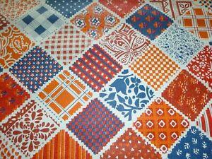 Vtg-70s-Partial-Roll-Vinyl-Textured-Patchwork-Look-Wallpaper-Red-Blue-Orange-24-034