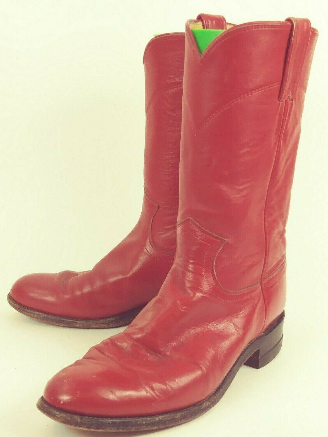 Vintage Justin 3055 Womenss Boots Cowboy Western US 7 B Red Leather USA