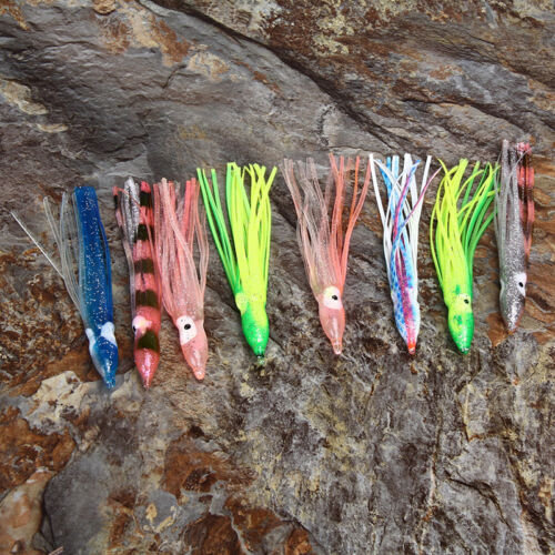 10PcsOctopus Squid Skirt Lure Saltwater Soft Fishing Lure Bait Hoochies