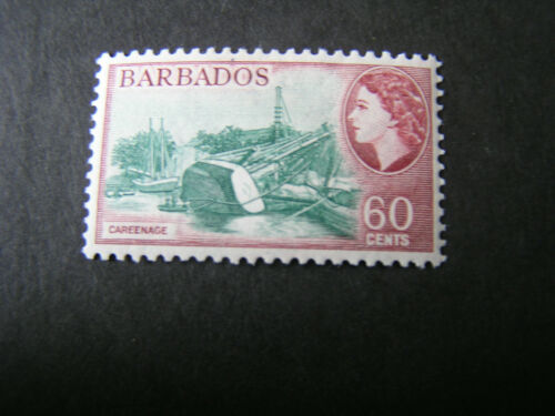 BARBADOS, SCOTT # 245, 60c. VALUE CARMINE/BLUE 1953-57 QE2 DEFINITIVE ISSUE MVLH
