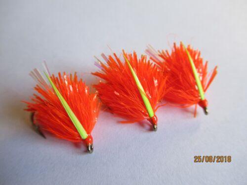 3 X 15mm  FIRE ORANGE VEGAS BLOBS FLY FISHING TROUT FLIES KAMASAN  8 B130