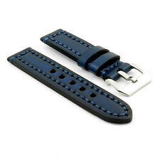 StrapsCo Vintage Thick Watch Band Strap in Blue w/ Heavy Duty Contrast Stitching