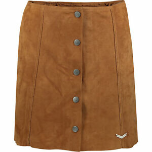 SUPERDRY-Women-039-s-Tan-Button-through-Suede-Leather-Skirt-XS-S-M-L