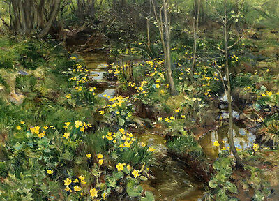 Oil painting spring landscape with little yellow flowers along the stream canvas
