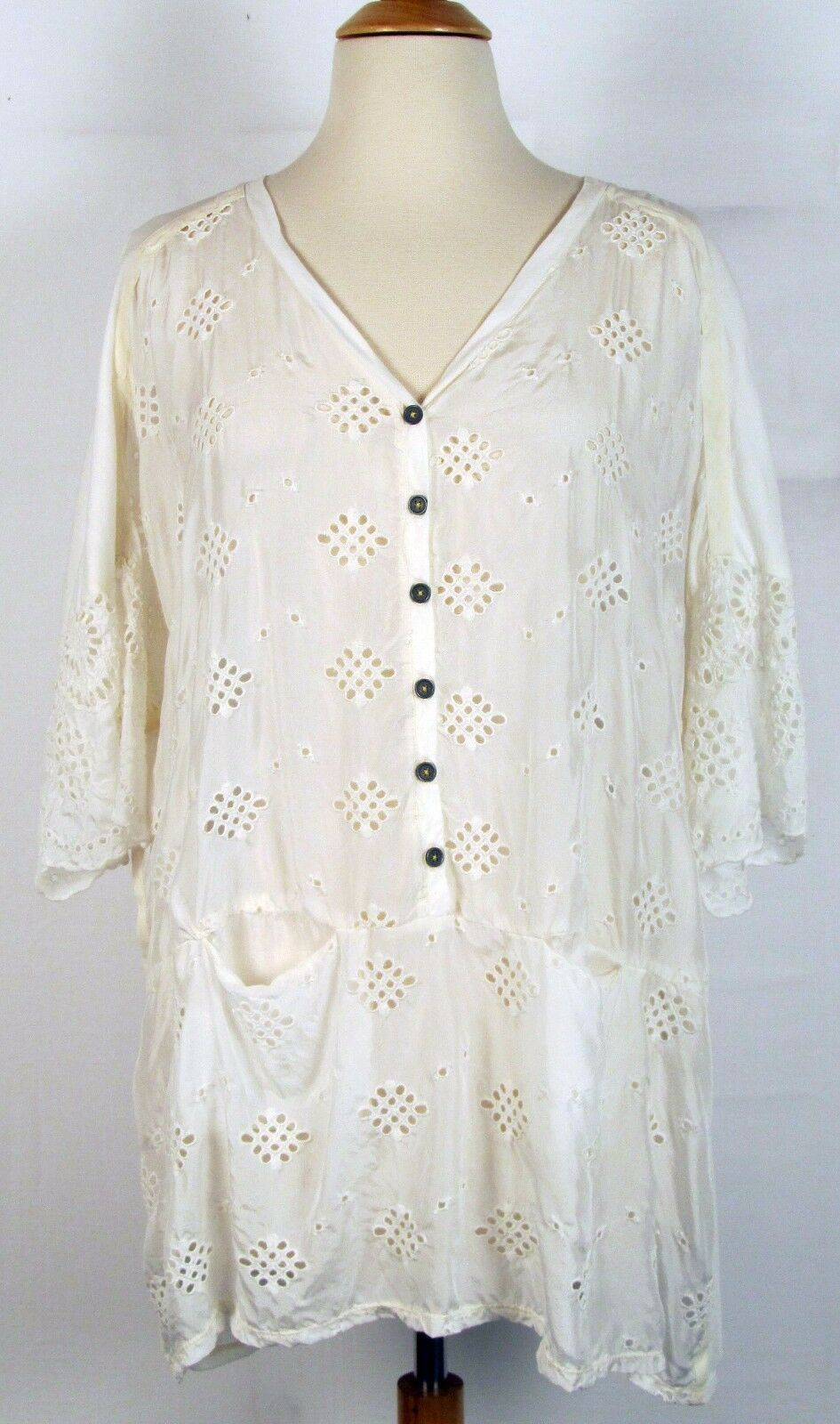 Johnny Was Pete & Greta Arlo Top in Natural Weiß Sz S overGrößed blouse NWT