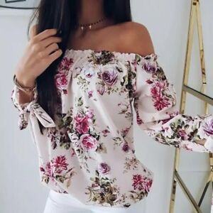 1fb9e630bc33 Women's Long Sleeve Off Shoulder Loose Blouse Casual Shirt Summer ...
