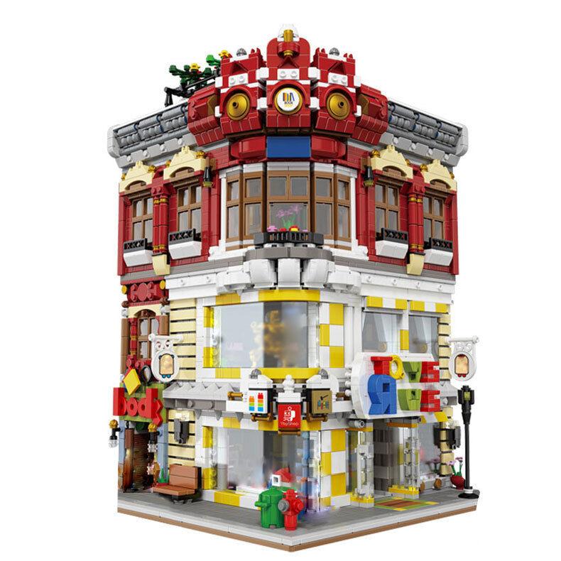 NEU 5491Pcs MOC Stadt Serie Der Spielzeug und Büche Laden Geschäfte Modell Sets