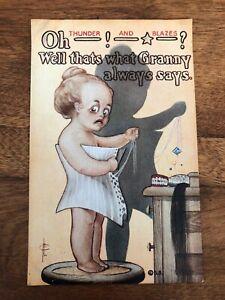 1900s-Postcard-Tough-Kid-Series-650-Oh-Thunder-And-Blazes-Granny-Says