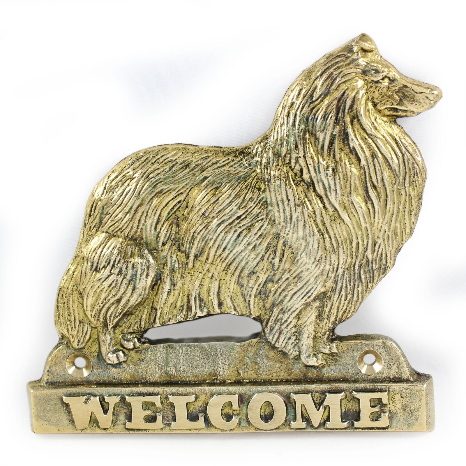 Rough Collie - brass tablet with image of a dog, Art Dog