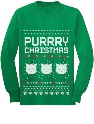 Holidays Funny Laser Eyes Xmas Cat Ugly Christmas Youth Kids Long Sleeve T-Shirt