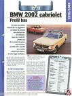 BMW 2002 Cabriolet 4 Cyl. 1971 Germany Allemagne Car Auto Retro FICHE FRANCE