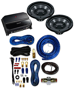 Kenwood P-W1221 Car audio Amplifier And Subwoofer Package With 4 Gauge AMP Kit