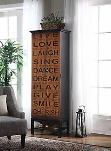 Image Is Loading Inspirational Slogan Live Love Laugh Birchwood Storage Cabinet