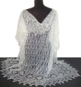 Châle Blanc - Châle Mariage - Pashmina Russe d Orenbourg Tricoté ... 4c9e9493d56