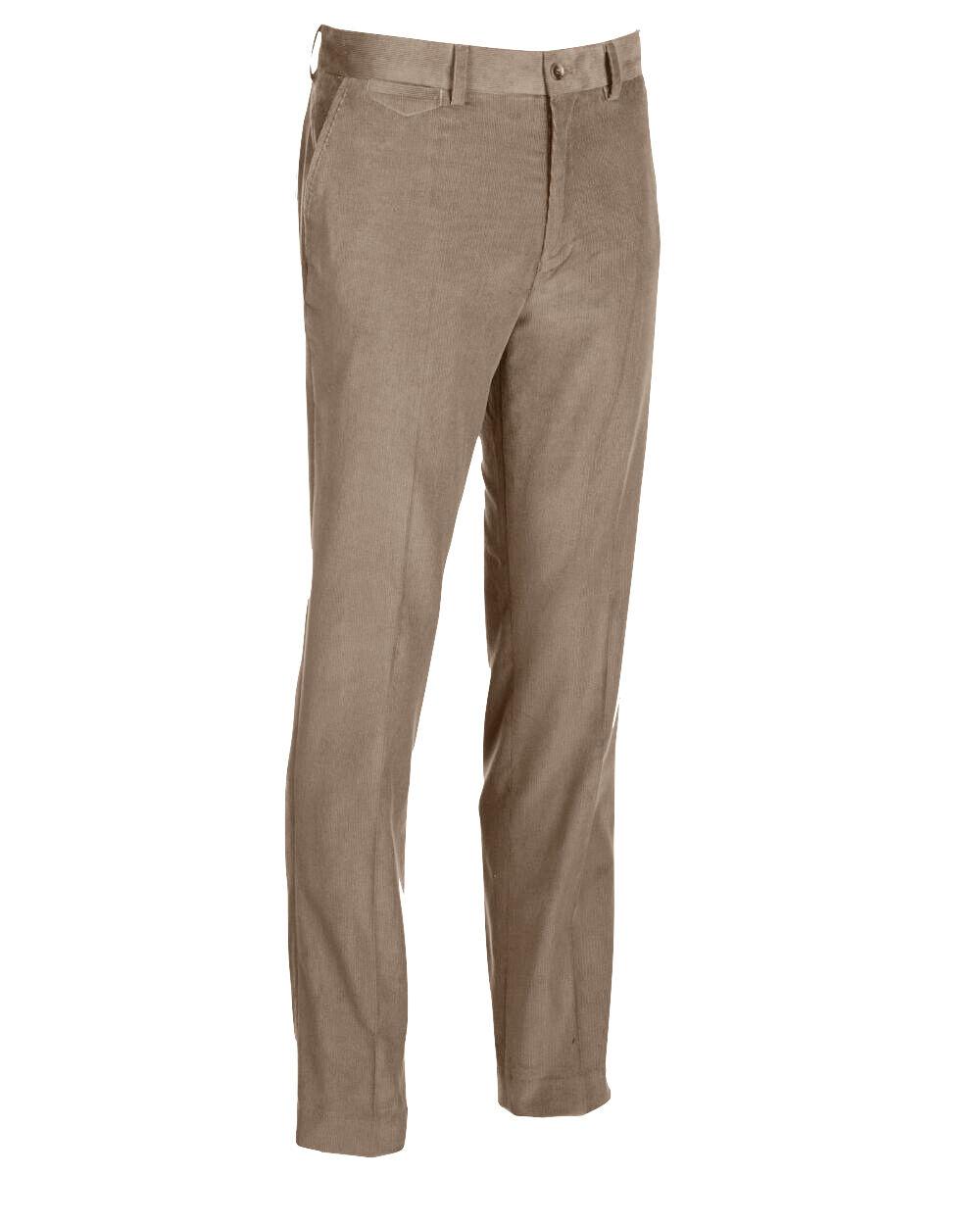 Tailorbyrd - Mens 36 34 -  Khaki Flat Front Straight Leg Micro-Corduroy Pants