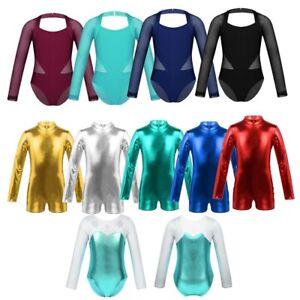 Girls-Uniform-Leotard-Dance-Gymnastics-Ballet-Long-Sleeve-Leotards-Kids-Jumpsuit