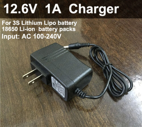 12.6V 1A AC//DC US Plug Adapter Charger for 3S Lithium Li-ion LiPo 18650 Battery