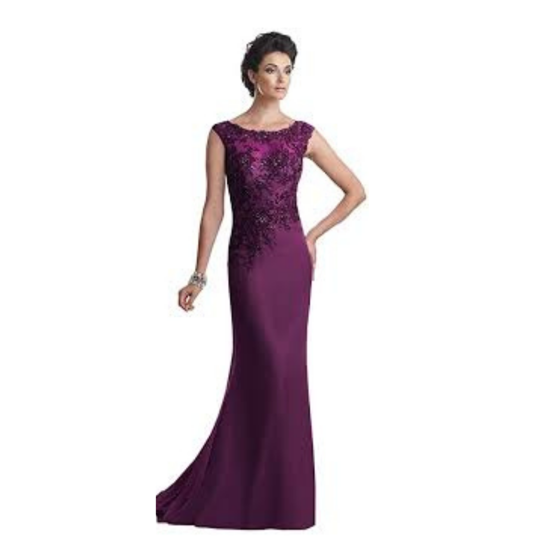 NWT Size 8 Purple Montage by Mon Cheri 113920 Mother of the Bride Dress