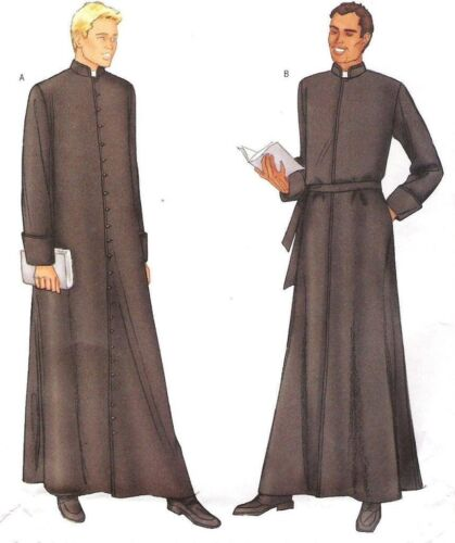 Mens Priest Clergy Cassock Robe Butterick Sewing Pattern  6844