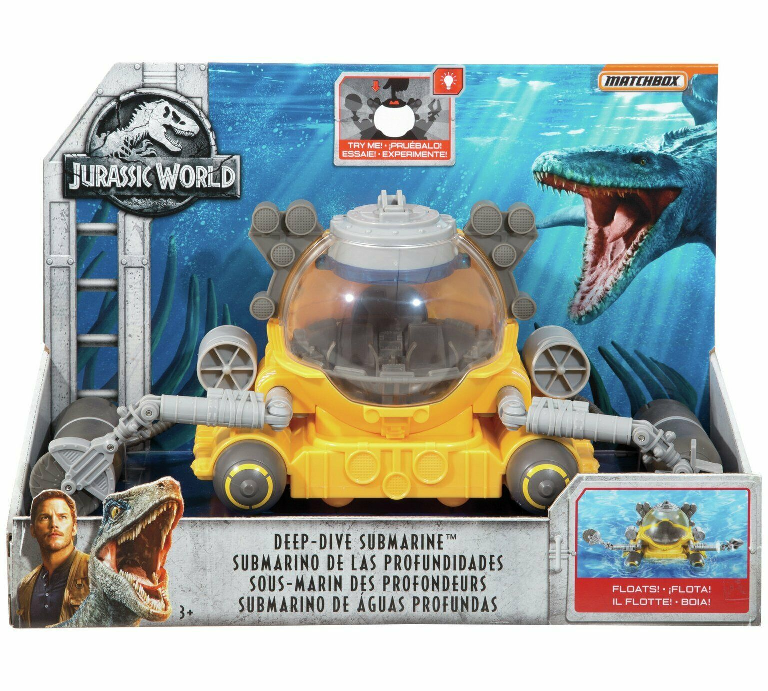 Jurassic World Matchbox Deep Dive Submarine 12inch   30cm