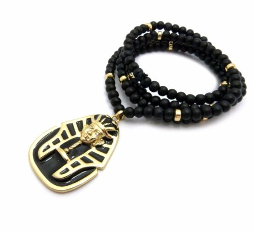 "Egyptian Pharaoh King Pendant 6mm 30/"" Wooden Bead Hip Hop Necklace RC2349G-WBK"