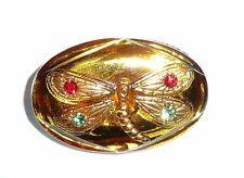 Hand Ptd Dragonfly Oval Czech Glass w/Gold Clr & Stones Shank Button 33mm x 21mm