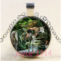 Unicorn And Butterfly fairy Cabochon silver Glass Chain Pendant Necklace #1274