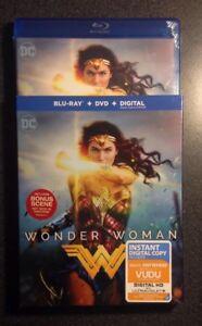 WONDER WOMAN 2017 Blu-Ray, DVD & Digital HD Copy with Slip Cover Gal Gadot. New!