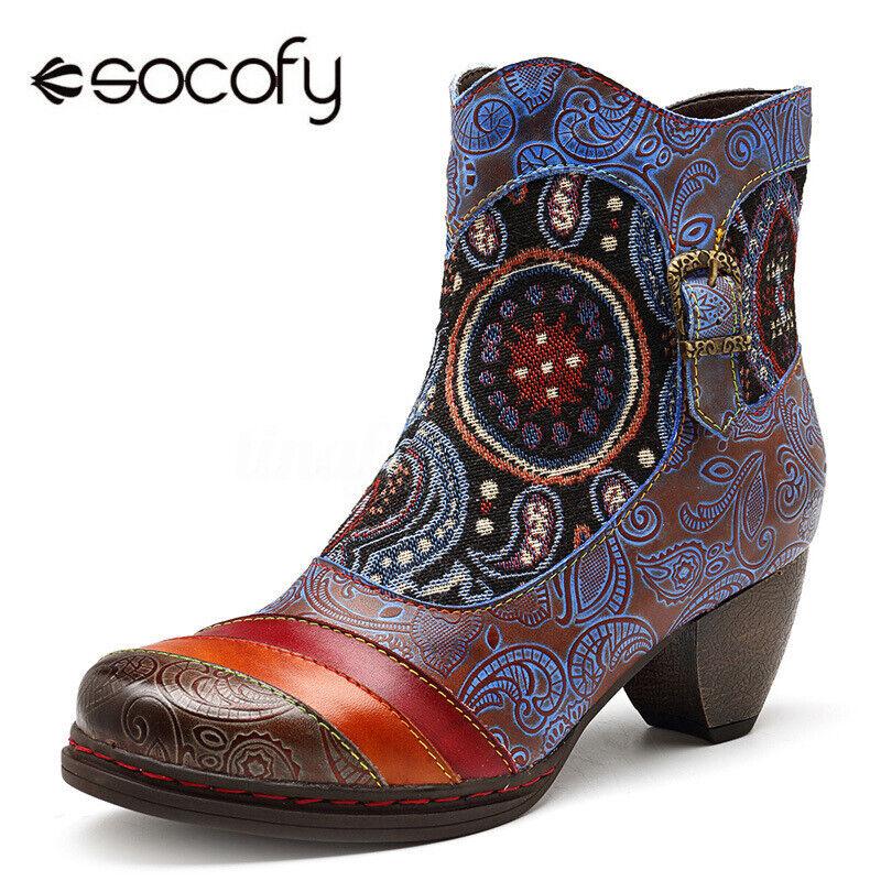 SOCOFY Women Winter Retro Heel Vine Pattern Genuine Leather Zipper Ankle