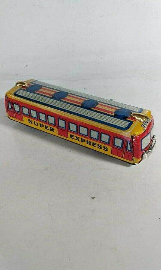 Vintage Wind-Up Camión Bus De Juguete de estaño-súper Express A-N Coleccionable