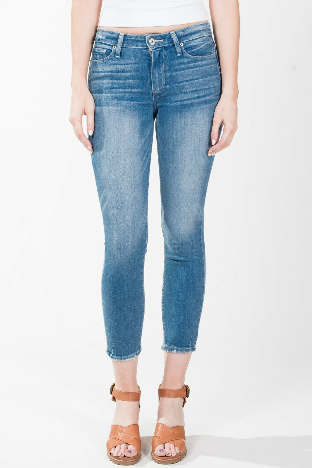 New Paige Hoxton Crop Destroyed Hem Stretch Denim Skinny Jeans Size 26x25
