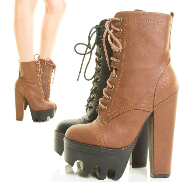 ba6c9389d65 Womens Ankle Booties Lace Up Chunky Thick Heel Lug Sole Platform Combat  Military