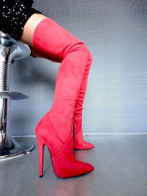 MORI OVERKNEE EXTREME HEELS ITALY STIEFEL BOOTS ANTE ANTE ANTE STRETCH LEATHER red b80a76