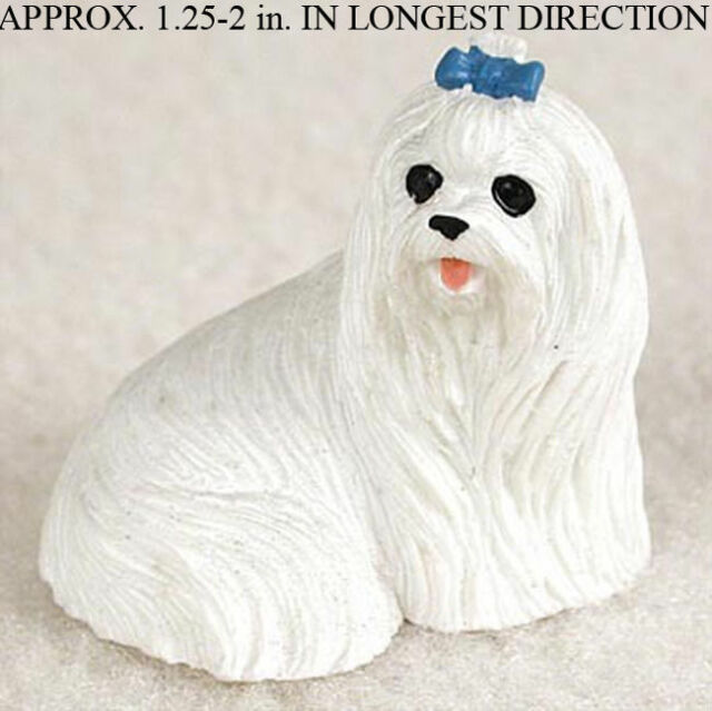 Maltese Mini Resin Dog Figurine Statue Hand Painted