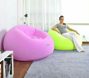 Benross-1-Person-PVC-Inflatable-Flocked-Travel-Lazy-Chair-Pink-Lime-105cm-x-65cm