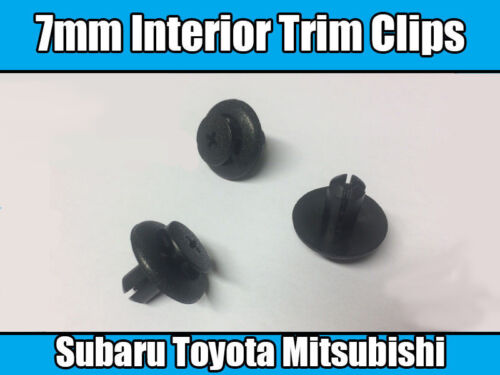 10x 7mm Black Plastic Trim Clips For Toyota Wheel Arch Lining Engine Bay Covers