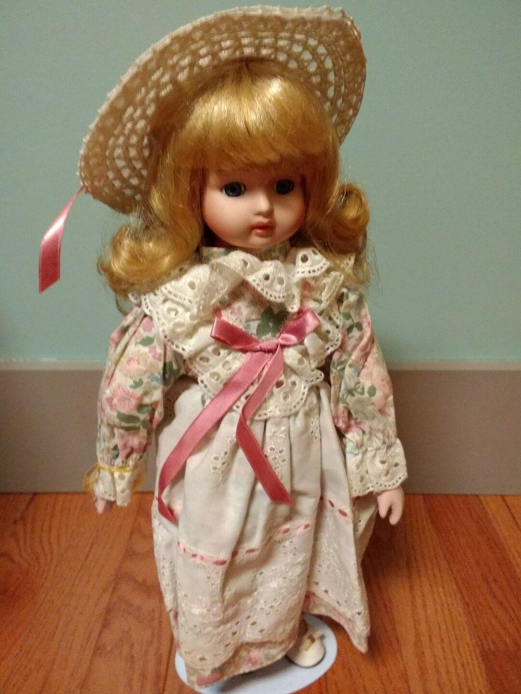 """Alberon Porcelain Doll Dusty Punk Floral 16"""""""